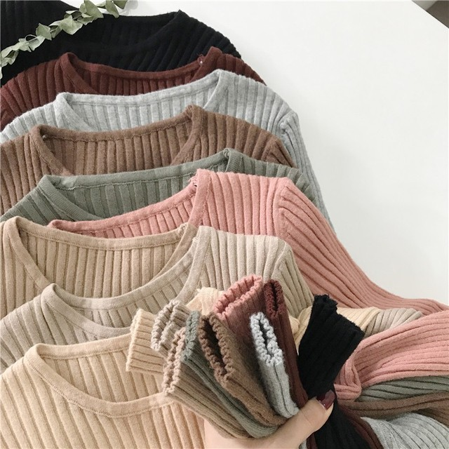 Basic Knitted Sweater Women Autumn Winter Bottoming Sweaters Pullover Lady Casual O-neck Slim Jumper 6