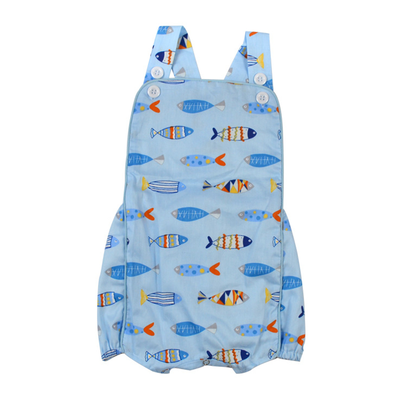 Puresun 2019 Fashion Design Fish Printing Baby Boys Girls  Romper Toddler Boutique Bodysuit Outfit With Button