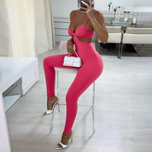 2021 Summer Fall Sleeveless Backless Hollow Out Slip Revealing Solid Folds Sexy Jumpsuit Women Fashion Outfits Party