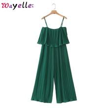 цены на Chiffon Women Pleated Jumpsuits Green Elastic Waist Ruffles Sleeveless Backless Rompers Bodysuit Women Solid Loose Playsuits  в интернет-магазинах