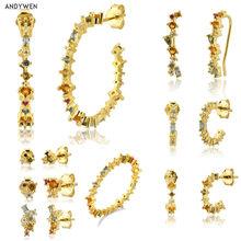 ANDYWEN – Boucles d'oreilles 100% argent 925 pour femme, bijou européen en zircon cubique avec de grands anneaux, pendentifs