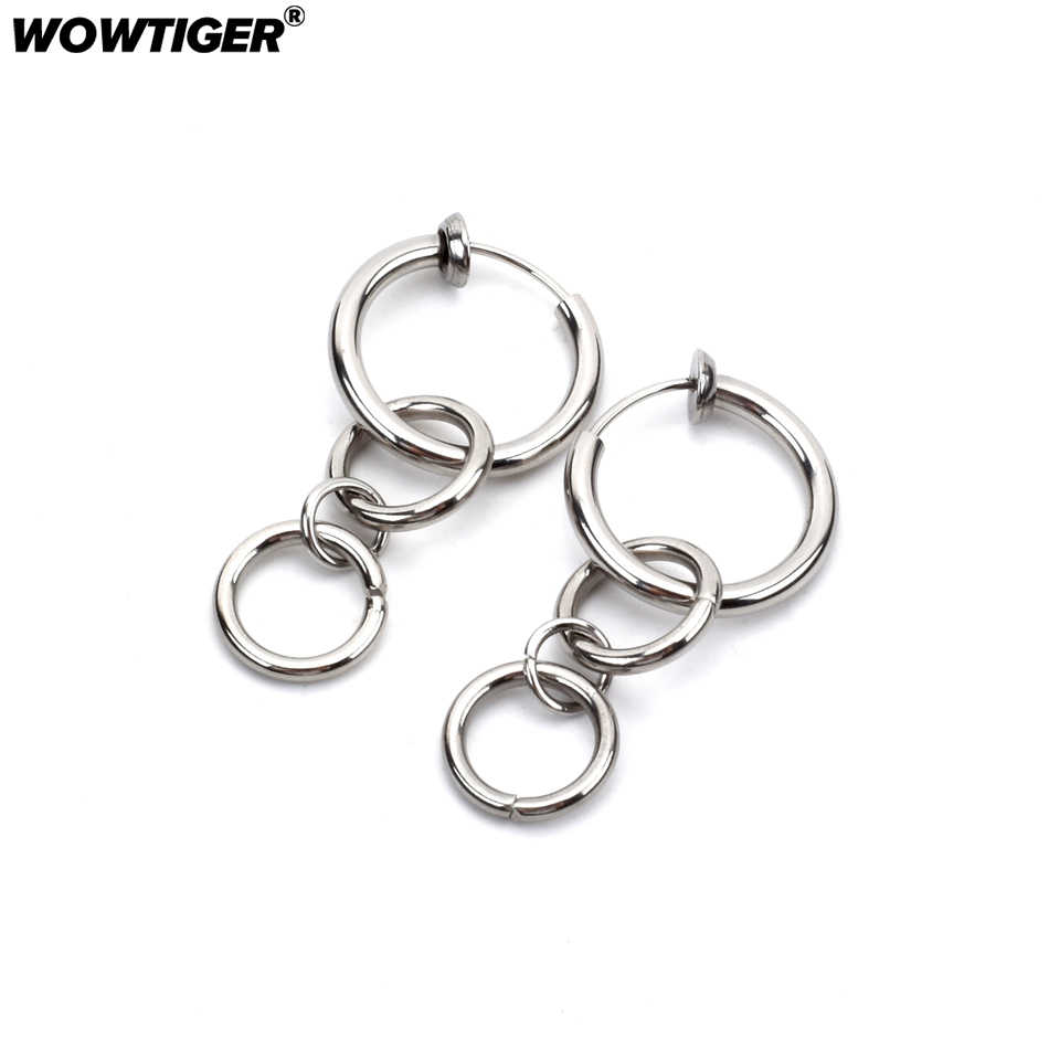 WOWTIGER New Stainless steel men`s Ear clip Invisible No Ear Hole women painless Earrings Clip Ring For Unisex Accessories