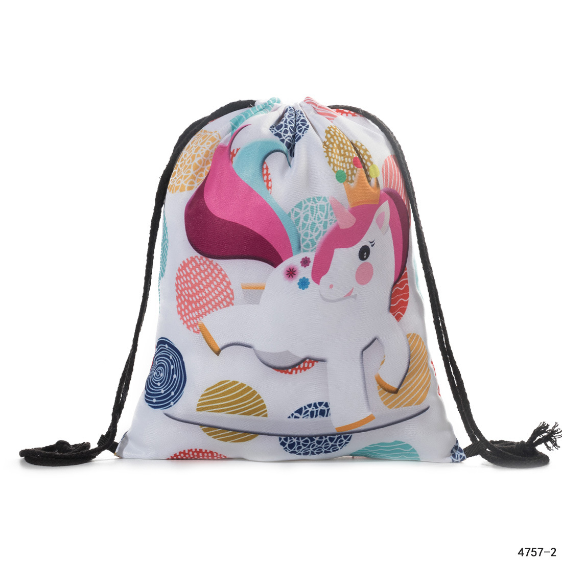 Hot Selling Unicorn Shopping 3D Digital Printed Cinch Top Bag Drawstring Backpack Storage Bag 3 Pieces String Bags  For Sale