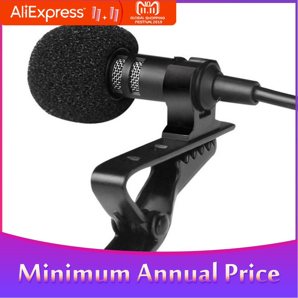 3.5mm Jack Clip-on Lapel Microphones Lavalier Tie Mikrofon Microfono Mic For Mobile Phone For Speaking Lectures