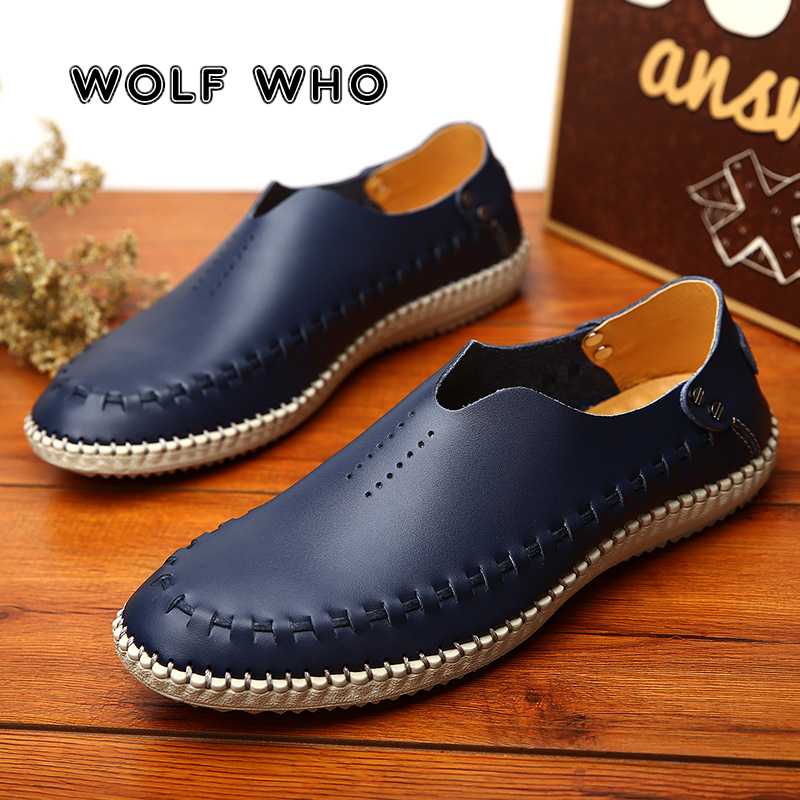 WOLF WHO 2019 Men Casual Shoes Male Fashion Handmade Vintage Shoes Luxury Brand Man Shoes Genuine Leather Leisure Footwear X-036