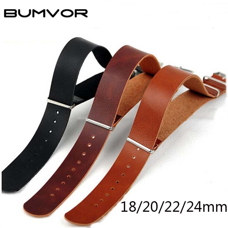 High Quality PU Leather ZULU Strap Strap NATO Leather Strap 18mm 20mm 22mm 24mm Watch Accessories