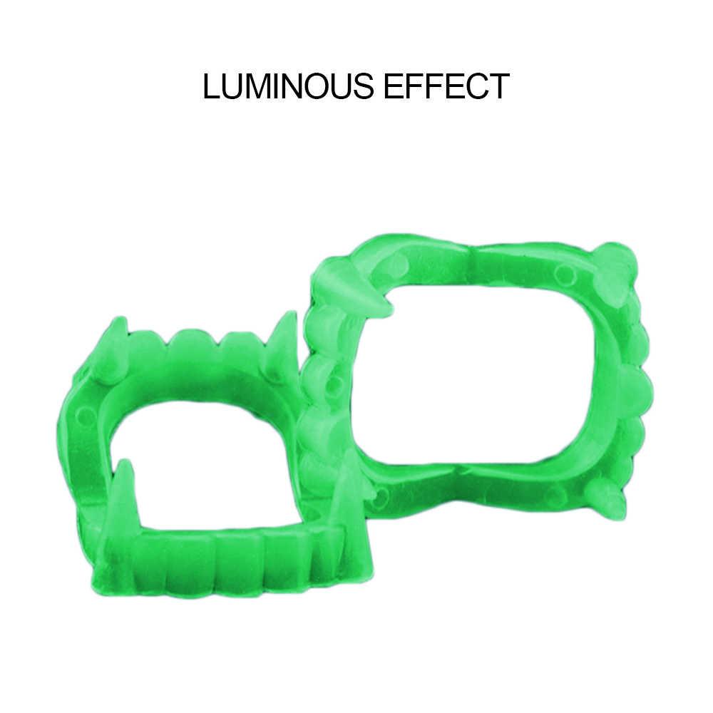 1pc Falsos Dentes de Vampiro Luminosa para As Pessoas Brilham No Escuro Terrorista Da Mordaça Brinquedo para o Dia Das Bruxas Decoração Do Partido Engraçado paródia
