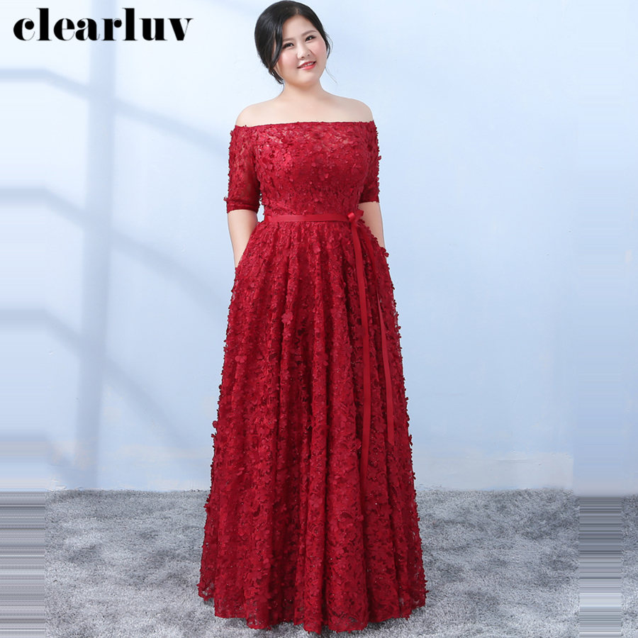 Elegant Lace Flowers Evening Dress Boat Neck Women Party Dresses 2019  Plus Size Robe De Soiree Half  Sleeve Formal Gowns T128