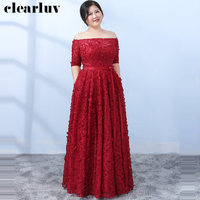 Elegant Lace Flowers Evening Dress Boat Neck Women Party Dresses 2019 Plus Size Robe De Soiree half Sleeve Formal Gowns T128