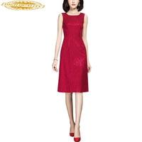 Spring Summer Dress Women Elegant Red Lace Office Dress Sleeveless Ladies Dresses Vestido Midi 2020 N01LC026C45 KJ3895