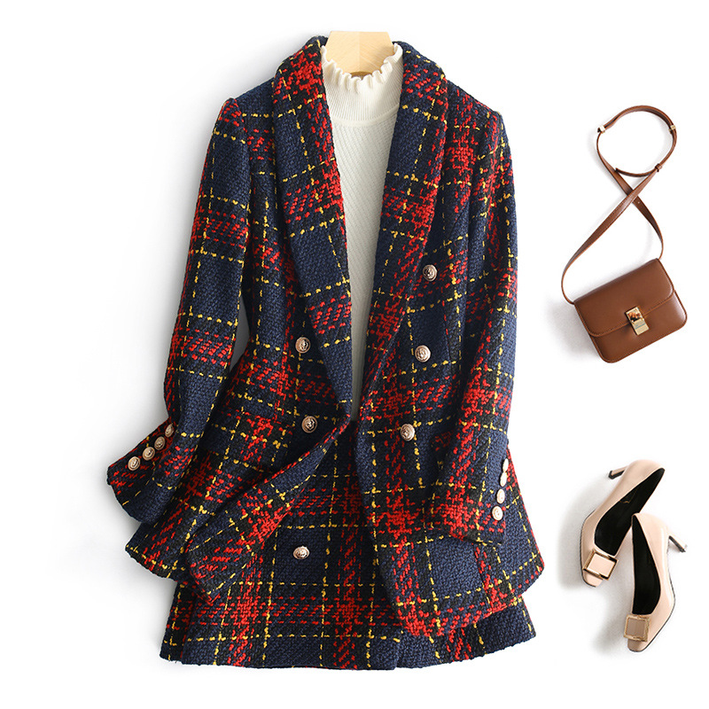 Elegant Women Plaid Skirt Set Autumn Double Breasted Tweed Woolen Blazer Jacket + Mini Skirt Two Piece Set Suit Spring Matching