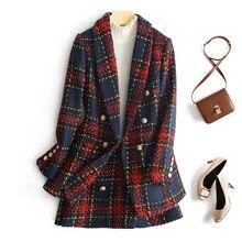 Elegant Women Plaid Skirt Set Autumn Double Breasted Tweed Woolen Blazer Jacket
