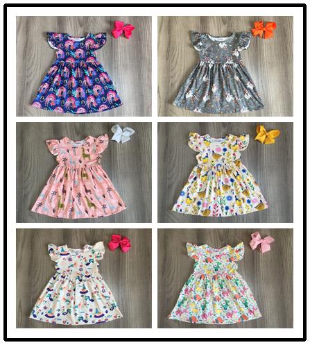 Baby Girls Summer Milk Silk Dress Girls Animal Dress With Bow Girls Leopard Chook Giraffe Bird Dinosaur Print Dress