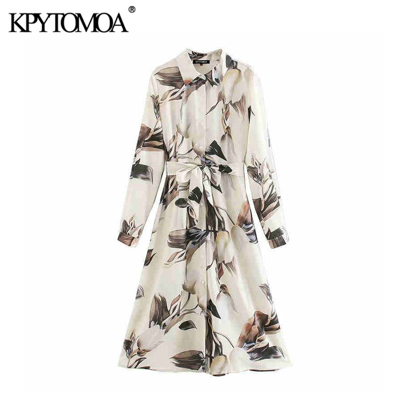 KPYTOMOA Women 2020 Elegant Fashion With Sashes Print Midi Shirt Dress Vintage Lapel Collar Long Sleeve Female Dresses Vestidos