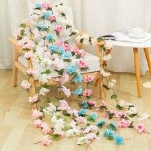 220CM/lot Cherry blossom vine Green gardening home bathroom decor accessories wedding Hotel decorative flower Artificial flower