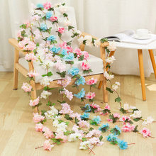 220CM/lot Cherry blossom vine Green gardening home bathroom decor accessories wedding Hotel decorative flower Artificial flower(China)