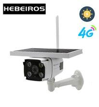 Hebeiros câmera de vigilância externa, 4g, cartão sim, bateria solar, 1080p à prova d água, ip, wi fi, sem fio, vigilância cctv