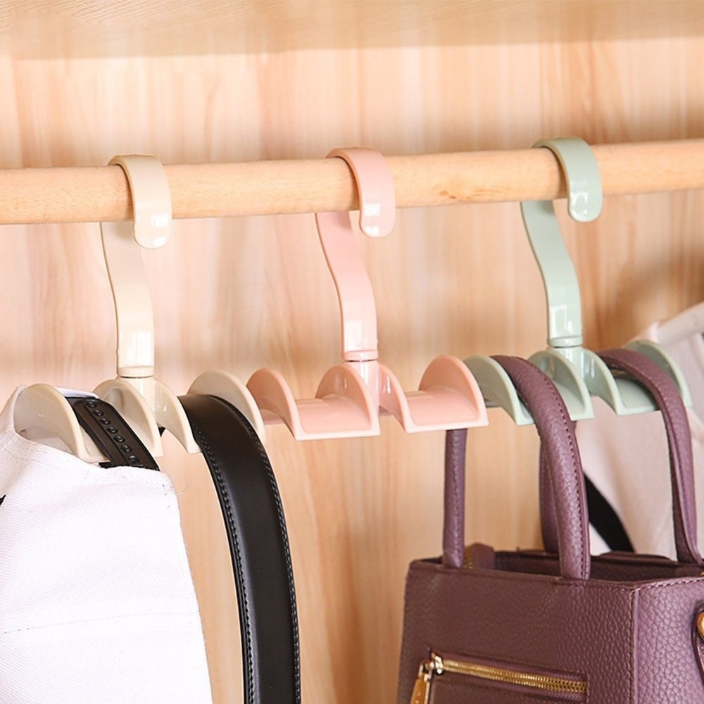 ​Plastic Scarf Belt Tie Holder Storage Hand Coat Without Punch Rotated Rack 360 Rotating Wardrobe Organizer Bag Hanger