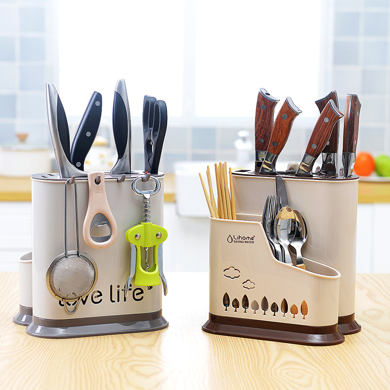 GH Multifunction Cartoon Kitchen Knife Holder Plastic Spoon Fork Chopsticks Knives Storage Rack Organizer Creative Knife Block