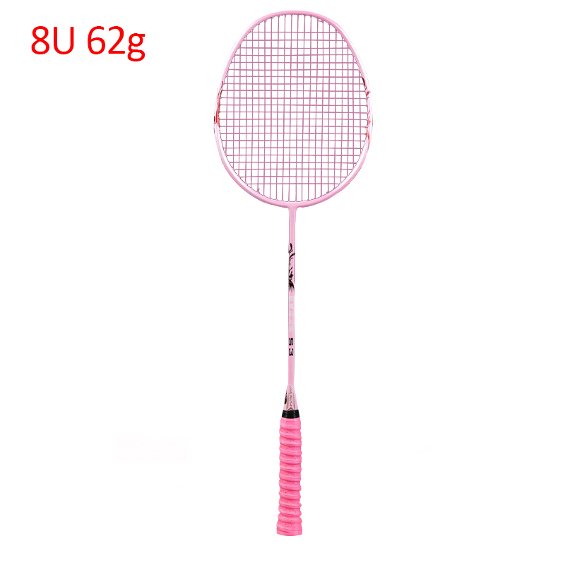 8U 62G Professional Carbon Badminton Racket Raquette Super Light Weight Offensive Single Force Paddle 30-32 LBS Sports Training