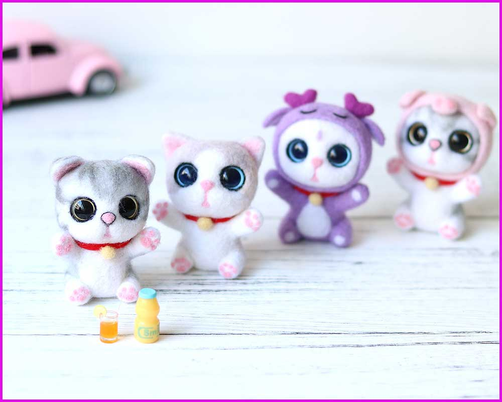 2019 New Arrival Lovely Cat Big Eyes Handmade Animal Toy Doll Wool Needle Felt Poked Kitting DIY Wool Kits Package Non-Finished(China)