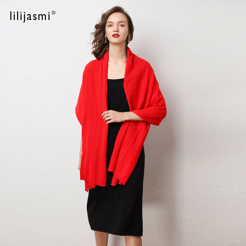 Lilijasmi 100% Fine Wool Knitted Scarves 180*60cm Cable Deco Women Autumn Winter Warm Big Scarf Soft Wool Pashmina #9114