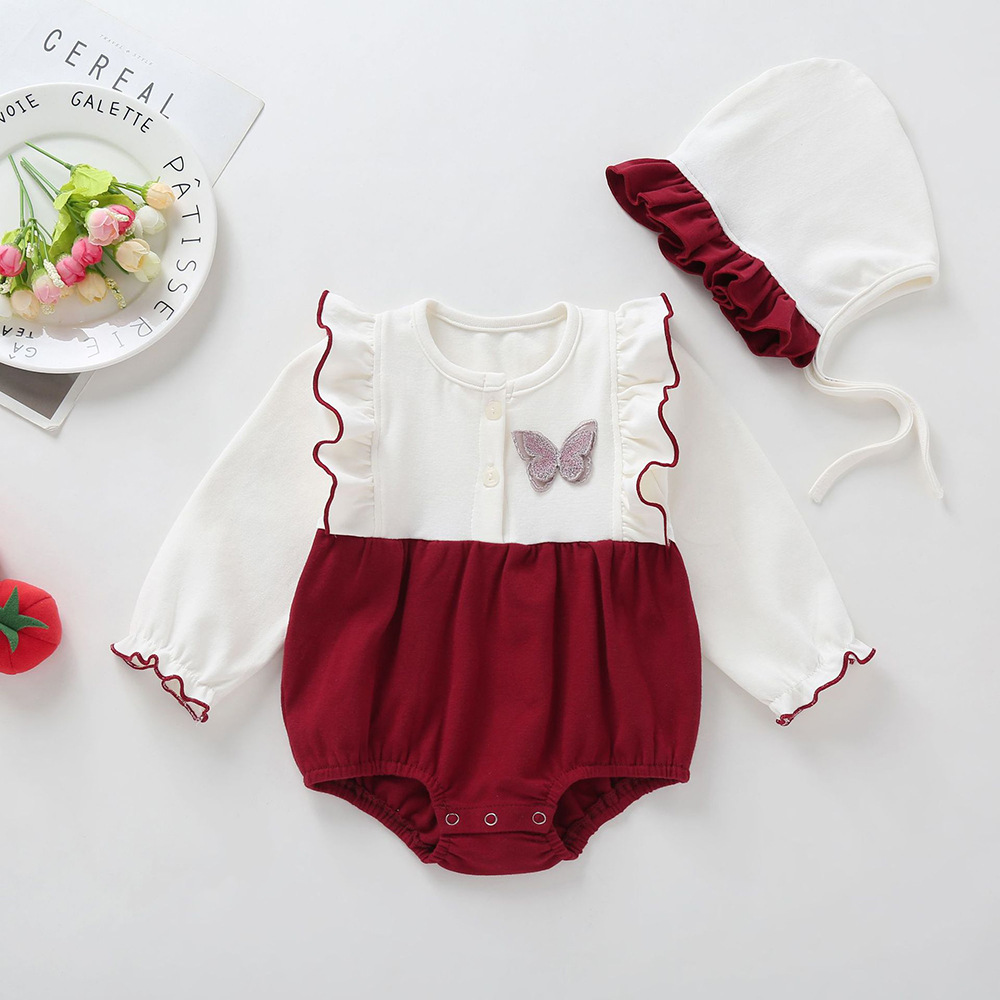 Infant Newborn Baby Girl Boho Romper Bodysuit+Lace Hat Outfits Clothes Sunsuit