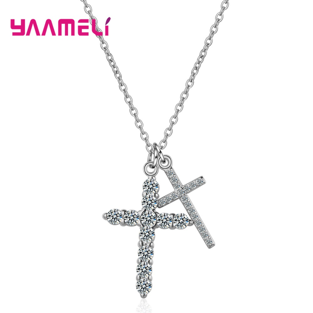 Shimmer Double Cross Pendants CZ 925 Sterling Silver Pendant Necklaces Choker New Statement Necklace Women Wedding Jewelry