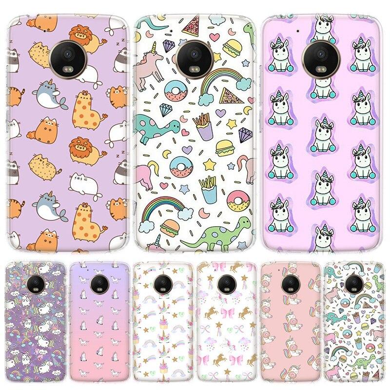 Cute Unicorn Dinosaur Rainbow Phone Case For MOTO Motorola G8 E4 E5 E6 G7 G6 G5S Plus Play Power ONE Action Cover Coque Soft Sil