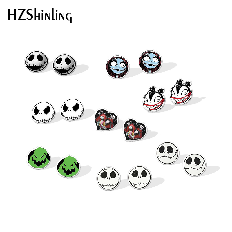 2019 New The Nightmare Before Christmas Shrinky Dinks Earring Sally And Jack Silver Epoxy Earring Acrylic Earring
