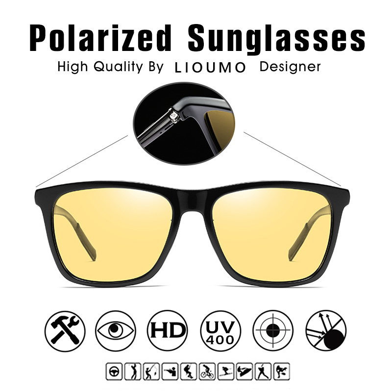 Image 4 - Square Brand Discoloration Sunglasses Polarized Women HD Photochromic Glasses For Day Night Vision Driving Men Sun Glasses UV400Womens Sunglasses   -