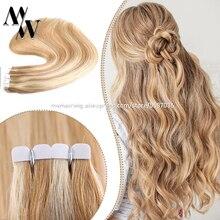 MW Ombre Цветные 100% натуральные человеческие волосы балаяж мини лента в машине для наращивания волос Remy кожа утка клейкие волосы 10