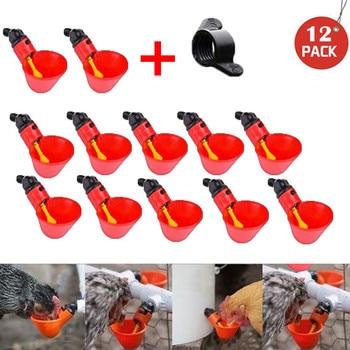 12 Uds alimentación automático pájaro Coop aves de corral bebedero para Pollos y Aves tazas para beber agua ganado taza de alimentación de suministros