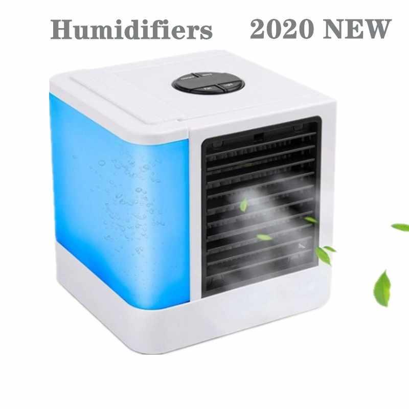 2020 جديد مرطبات مكيف هواء صغير مراوح USB مبرد الهواء المحمول مروحة مكتب لمكتب جهاز التبريد 7 لون أضواء