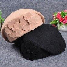 Женский берет, хлопок, шерсть, новинка, вязанные, модные, цветок, шерсть, осень, зимние шапки для женщин, шапки