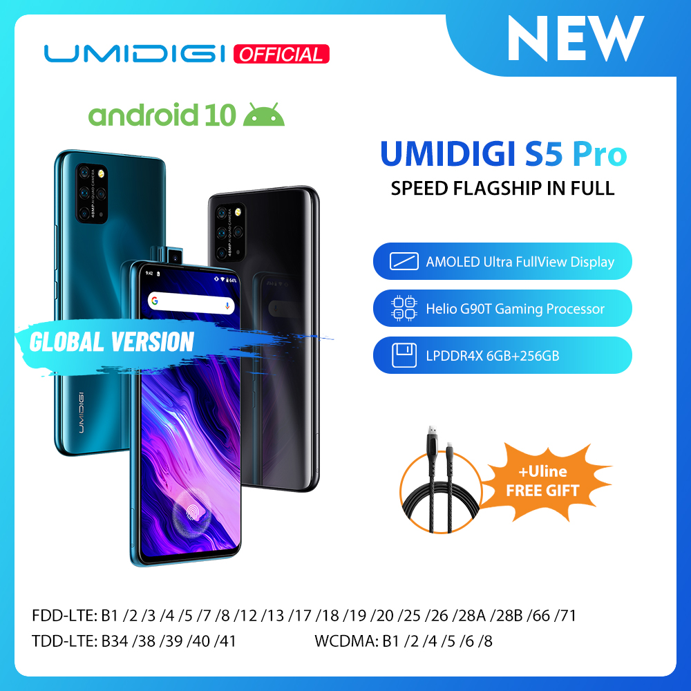 UMIDIGI S5 Pro Helio G90T Gaming Processor 6GB 256GB Smartphone FHD+ AMOLED In-screen Fingerprint Pop-up Selfie Camera 4680mAh image