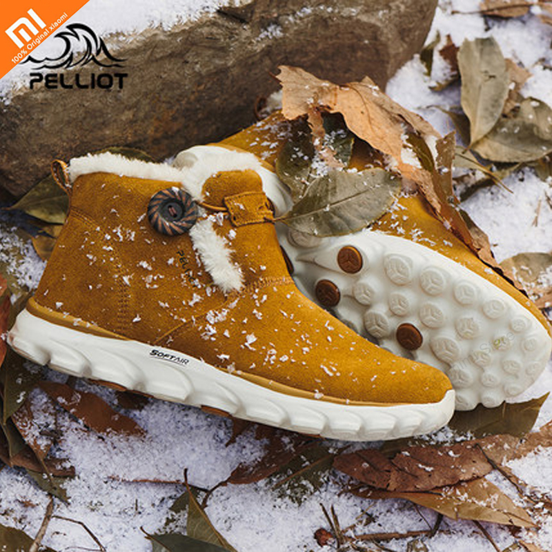 Xiaomi Outdoor Leather Snow Boots For Men And Women Winter Warm Plus Velvet Non-slip Boots Lightweight Wear Sports Shoes