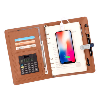 8000MAh Notebook Multi Functional Mobile power Notepad A5  Calculator with USB Disk Rechargeable  Binder Spiral Diary Planner