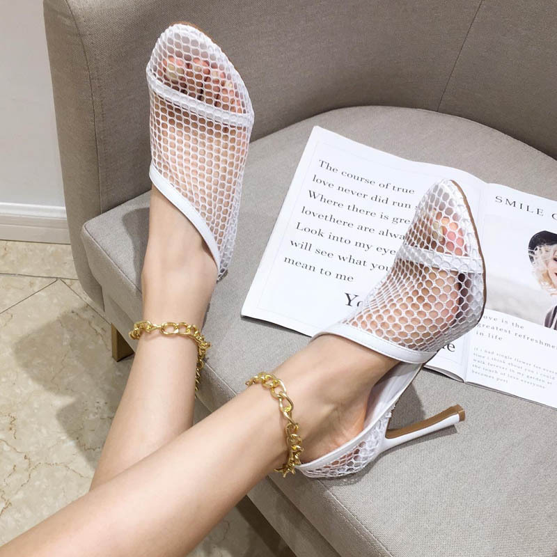 Heel Shoes Mesh Pointed Metal Hollow Small Decorative Fragrance Thin New-Style