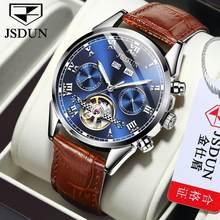 JSDUN – montre-bracelet en cuir pour hommes, chronographe, étanche, Sport, Date automatique, mécanique