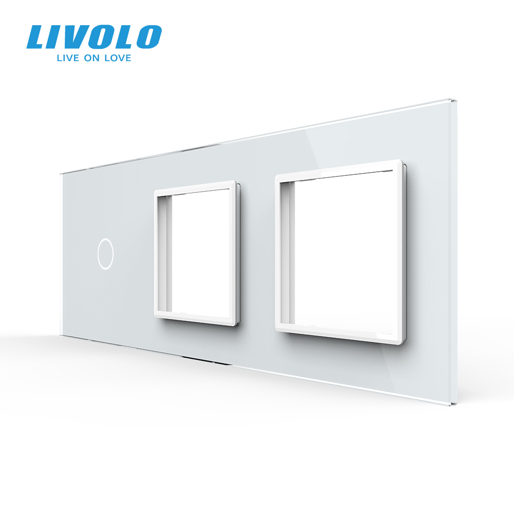 Livolo DIY Luxury Pearl Crystal GlassEU standardTriple Glass Panel4 colorsglass panel diy mark color you wantno logo