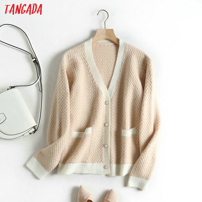 Tangada Women Elegant Cardigan Sweater Long Sleeve Buttons Pocket Office Lady Knit Sweaters Basic Sweater BAO4