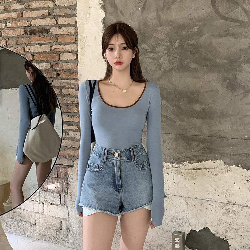 3 colors autumn korean style u neck womans tops color patchwork slim long Sleeve t-shirt Womens Tees shirt femme (R99359) 4