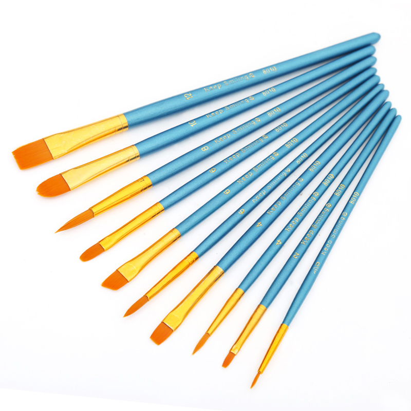 10Pcs/Set 4 Color Watercolor Gouache Paint Brushes Different Shape Round Pointed  Nylon  Painting Brush Set Art Supplies