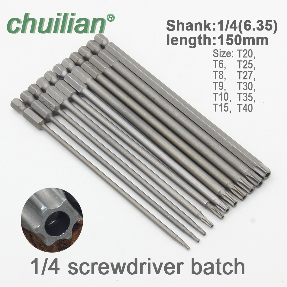 1Pc 150mm Long T6-T40 Magnetic Torx Screwdriver Bits Set Electric Screwdriver Head T6,T8,T9, T10,T15,T20,T25,T27, T30,T35,T40
