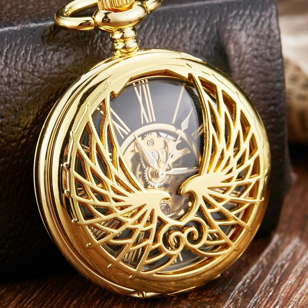 Hollow Line Gold Mechanical Pocket Watch Men Black Skeleton Mechanical FOB Chain Necklace Clock Male Reljo Clock