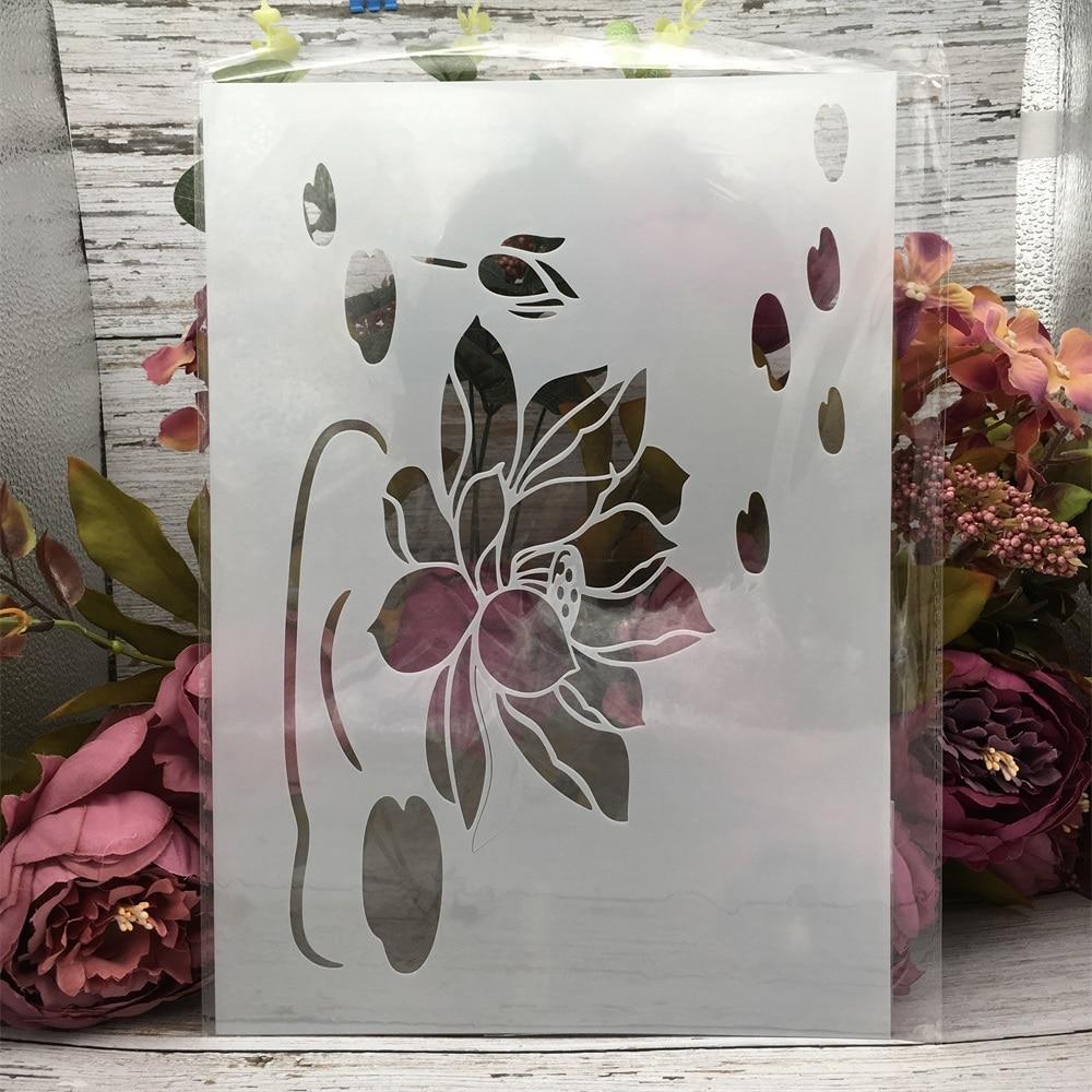 29*21cm A4 Lotus Pond II DIY Layering Stencils Wall Painting Scrapbook Coloring Embossing Album Decorative Template