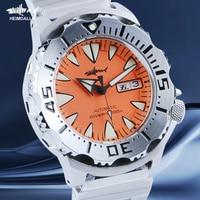 Heimdlr-Reloj de buceo automático Monster para hombre, cristal de zafiro Sharkey, resistente al agua, 200M, NH36A, Dial rojo, mecánico