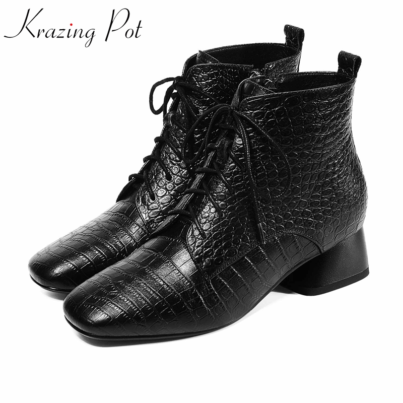 krazing pot 2020 cow leather med heels Chelsea boots mature lady square toe winter streetwear preppy style fairy ankle boots l89