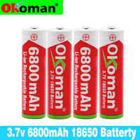 100% New Original 3.7v 6800mah 18650 Lithium Rechargeable Battery For battery pack power tool Flashlight for Pointed battery